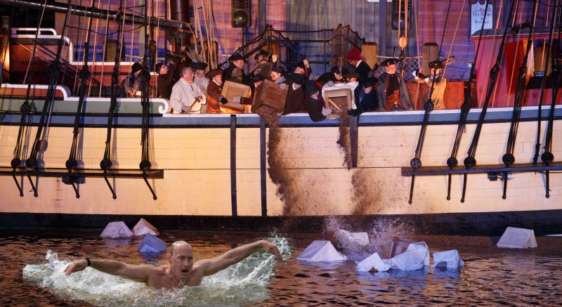 A Boston Tea Party of sorta, brought to you by Vladimir Putin. Image edited by Kevin Rothrock.