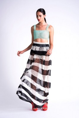 3D printed skirt, top, and shoes from the collection of Israeli fashion designer Danit Peleg. (Source: DanitPeleg.com)