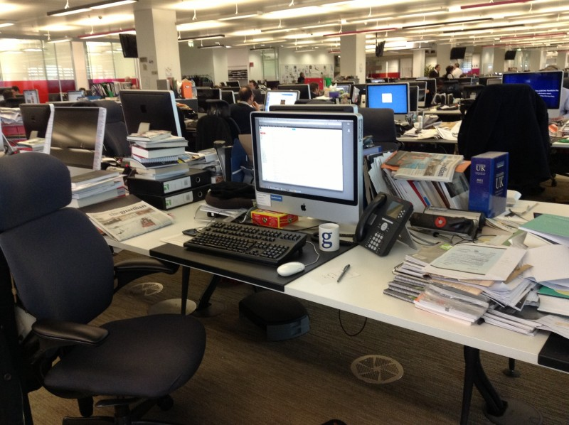 Saeed Dehghan's desk in The Guardian newsroom in London. PHOTO: Saeed Dehghan, used with permission.