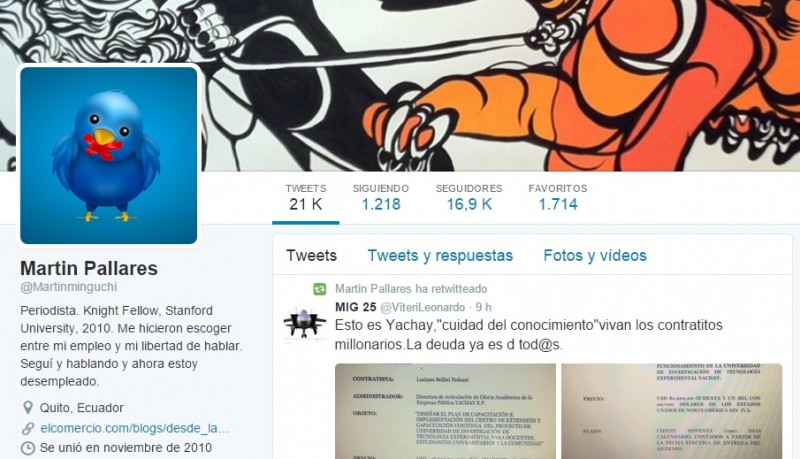 A screenshot of journalist Martín Pallares' Twitter account.