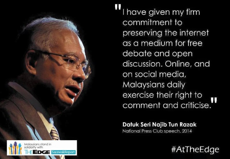 Media freedom advocates are urging the prime minister to remember his commitment to keep Internet free from censorship. Photo from the Facebook page of Malaysians stand in solidarity with The Edge