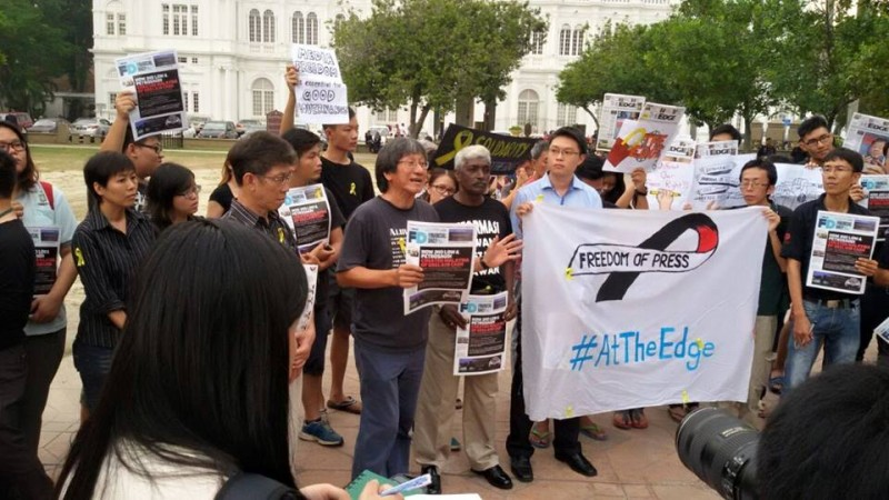 Journalists , activists, and concerned citizens gather in Penang, Malaysia to show solidarity to the campaign for the protection of free speech. Photo from Facebook page of 'Malaysians stand in solidarity with The Edge'