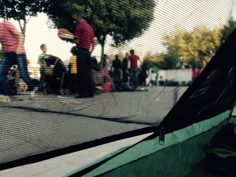This is the view from Amer's tent. He is camping outside Istanbul's main bus station with other refugees. They are asking for a safe route to travel to Europe. Credit: Amer Mohammad. Used with PRI's permission