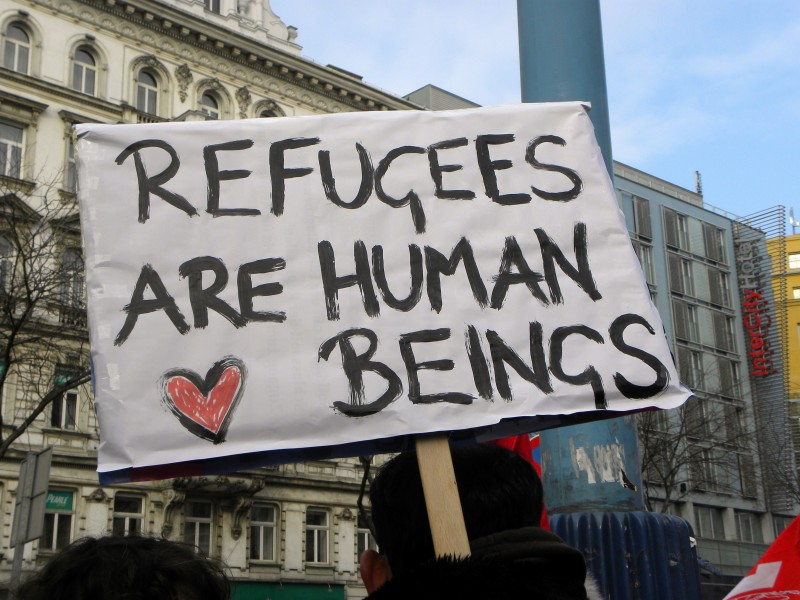 Refugees are Human Beings. Photo from Commons Wikimedia
