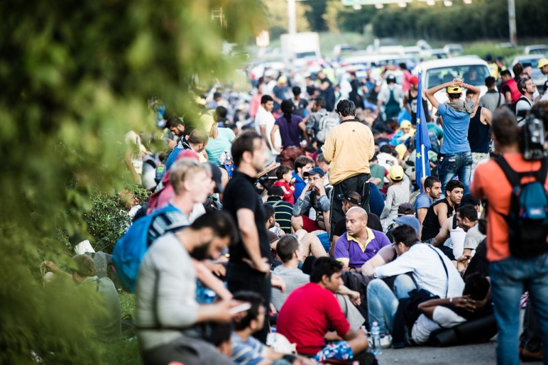 Refugees crowd a road in Budapest, Hungary. September 4, 2015. Photo by International Federation of Red Cross and Red Crescent, CC 2.0.