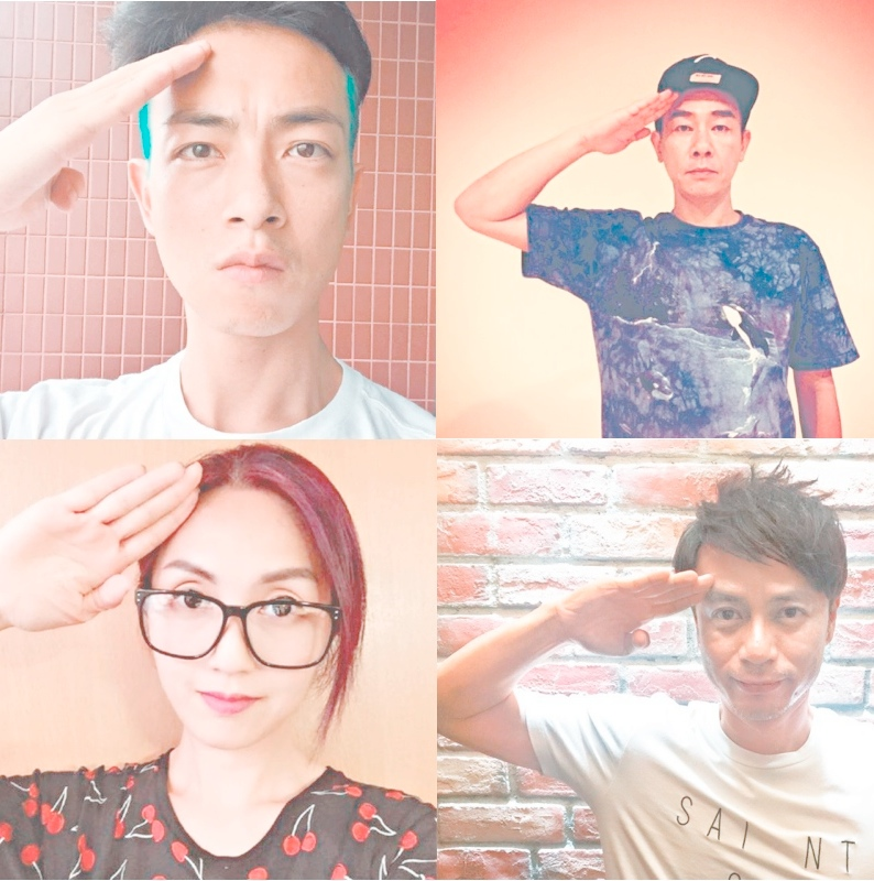 A number of Hong Kong artists upload salute photos during China's military parade on September 3. Images from Apple Daily. Non-commercial use.