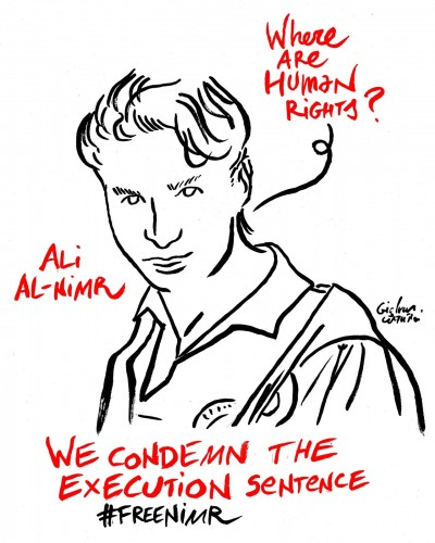 A drawing raising awareness of Ali al-Nimr's case. Image by Gianluca Costantini.