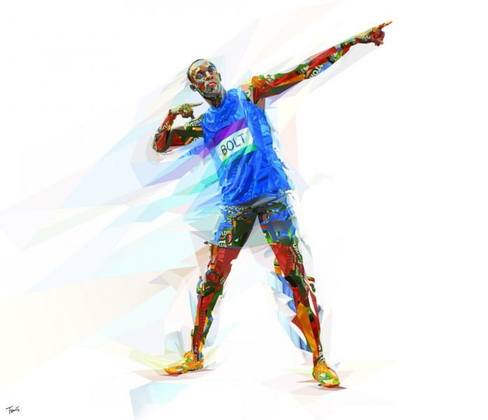 Illustration representing Usain Bolt reconstructed from parts and fragments of a Gatorade bottle; image by Charis Tsevis, used under a CC BY-NC-ND 2.0 license.