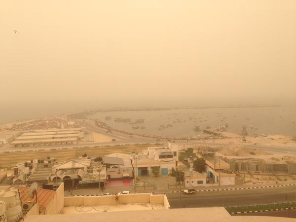 The Gaza marina enveloped in dust this afternoon. Photograph shared by  @shawajason on Twitter