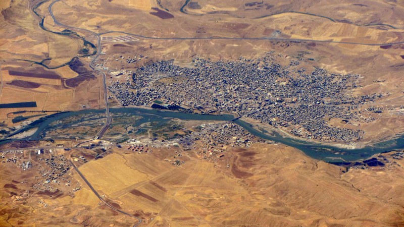 Arial shot of Cizre, Turkey.  Wiki image.