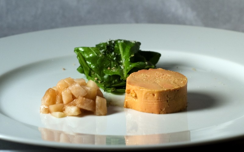 Moulard duck foie gras with pickled pear. Wikipedia image.