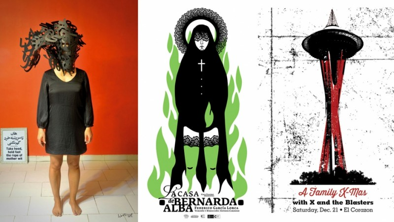"A triple of posters from left to right: ""Take Heed, Hold Fast the Rope of Mother Wit"" by Shahrzad Changalvaee (Tehran); ""La Casa de Bernarda Alba"" by Darwin Fornés (Havana); ""A Family X-Mas"" by David Gallo (Seattle). Credit: SHT Show"
