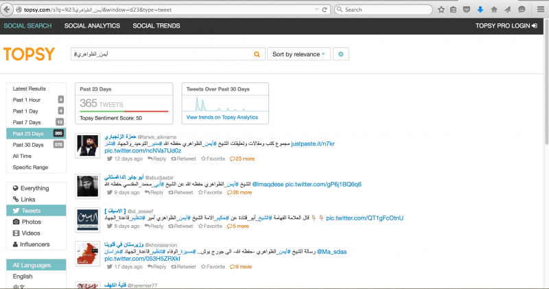 Screen shot of a Topsy search for mentions of  Ayman Al Zawahiri, in Arabic, on Twitter