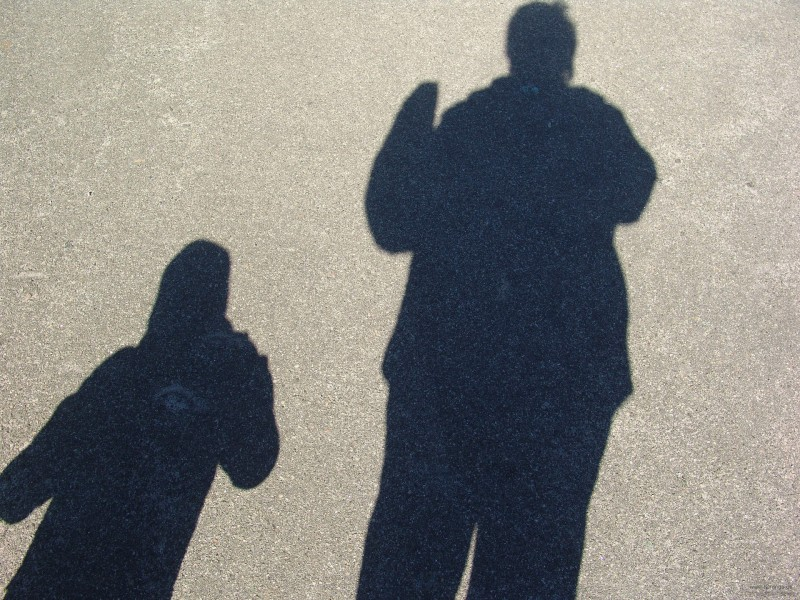 Shadow of a mother and child. Torange.us. Licensed to re-use.