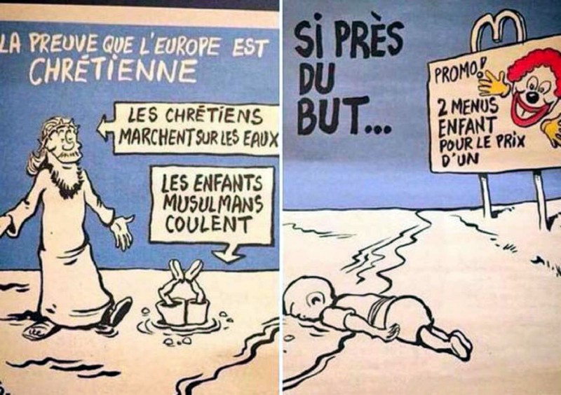 Charlie Hebdo's latest cartoons of Syrian toddler Aylan Kurdi, widely circulated on social media
