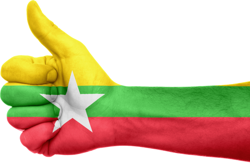 A thumbs up sign resembling the Facebook 'Like' icon and a painted flag of Myanmar. Image by Kurious, CC License, Pixabay