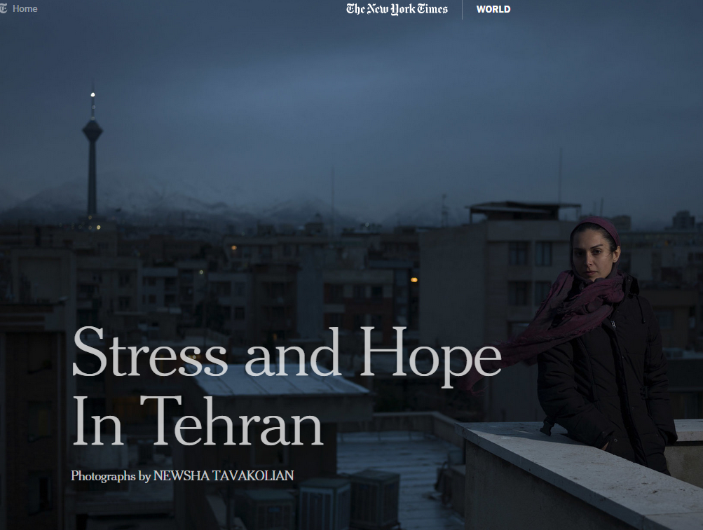 A photo essay by Tavakolian on ordinary lives affected by sanctions in Iran. Screenshot of New York Times spread.