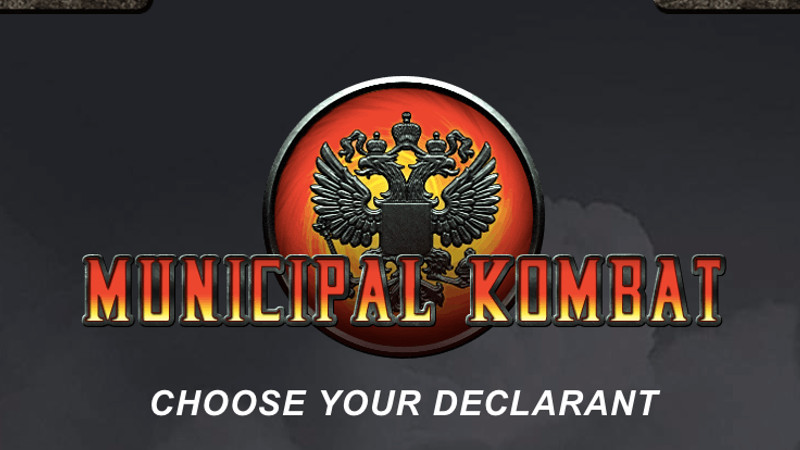 Russian activists pitch an online battle against corrupt local officials, 'Mortal Kombat'-style. Screenshot from mk.team29.org.
