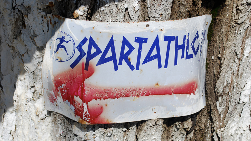 A sign near the Spartathlon venue. Photo by Sarah Murray on Flickr. CC BY-SA 2.0.