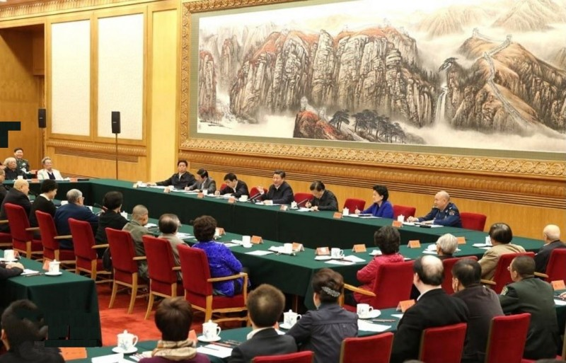 China President Xi Jinping gave a speech on the role of arts in a symposium attended by artists and propaganda officials in 2014. Image released from state news wire Xinhua.