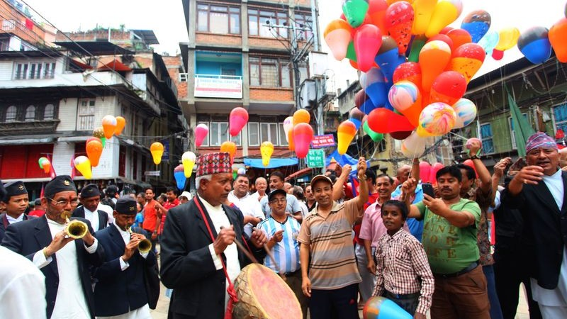 Nepalese people attend a celebration program to mark the beginning of constitution in the country. Image by Sunil Sharma. Copyright Demotix (21/9/2015)