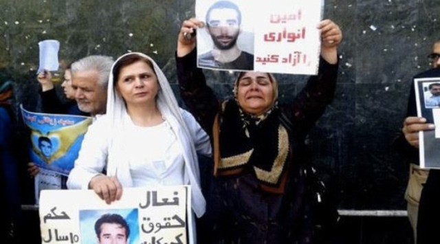 Amin Anvary's mother has been protesting for her son's release since October. Image from ICHRI.