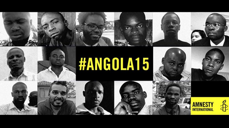 The 15 activists arrested in Angola. Photo from Amnesty International.