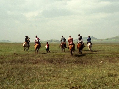 "A scene from ""Difret"" depicts the horseback kidnapping of the main character. Credit: Truth Aid Media"