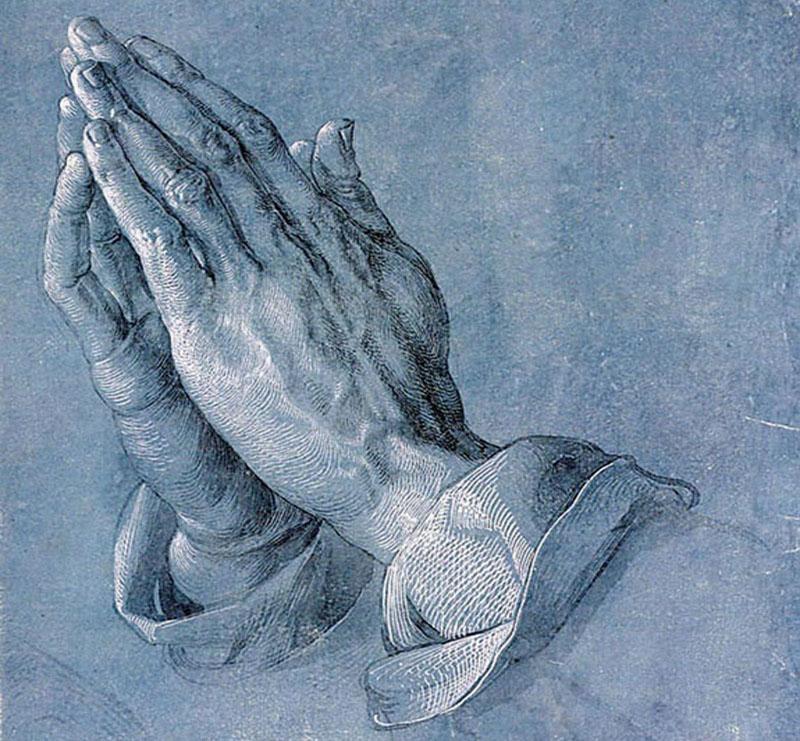 A photographic reproduction of Praying Hands, a public domain work of art by Albrecht Dürer.