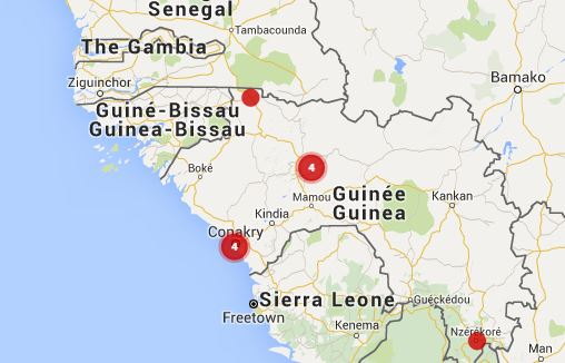 Interactive Map of Guinee election monitoring  plateform