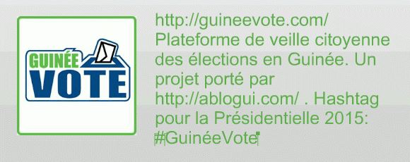 Banner of the Guinea Votes Project to encourage citizen election monitoring via Ablogui with their permission