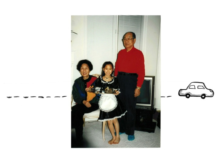 Yowei Shaw and her grandparents. Credit: Emily Yao. Used with PRI's permission