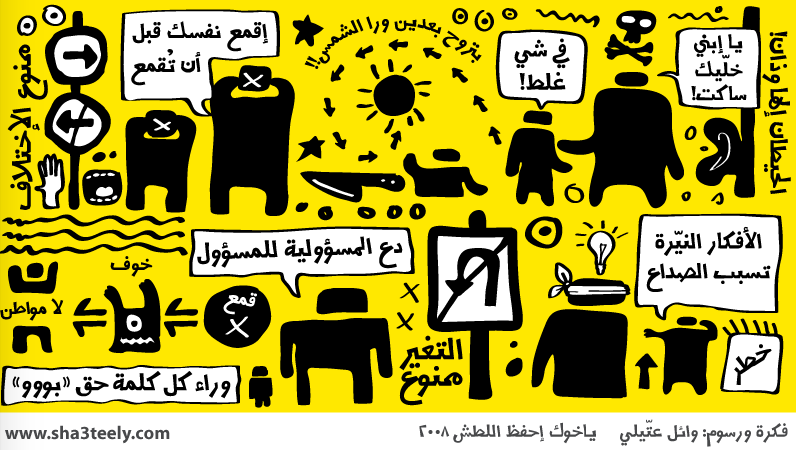 """Un tableau de l'humoriste jordanien Wael Shateely critiquant la répression de la liberté d'expression dans la région. Les citations disent: """"Il est préférable de garder le silence"""", """"opprimez-vous vous-memes  avant que vous soyez opprimé"""", """"Laissez la responsabilité aux fonctionnaires,"""" et """"Les pensées éclairées causent des maux de tête."""" Source: www.sha3teely.com"""