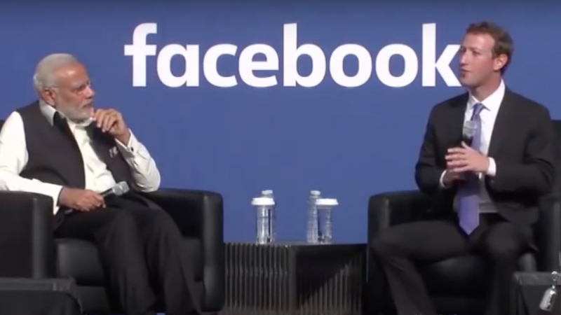 Narendra Modi meets Mark Zuckerberg at Facebook HQ. Screenshot from an Youtube video uploaded by  Great Indian Politics