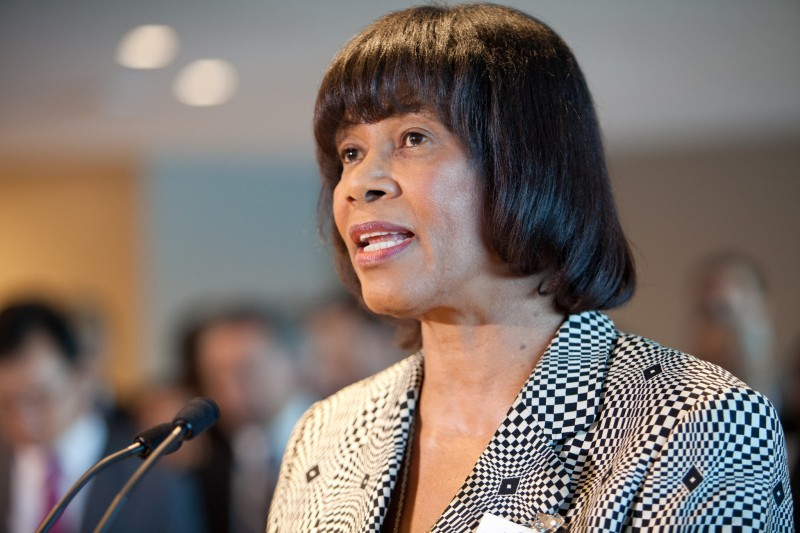 Prime Minister of Jamaica, Portia Simpson-Miller, at the ceremony unveiling the winning design for the slavery memorial at the UN. Photo by United Nations Information Centres, credit to the UN Social Media Team, used under a CC BY-NC-ND 2.0 license.