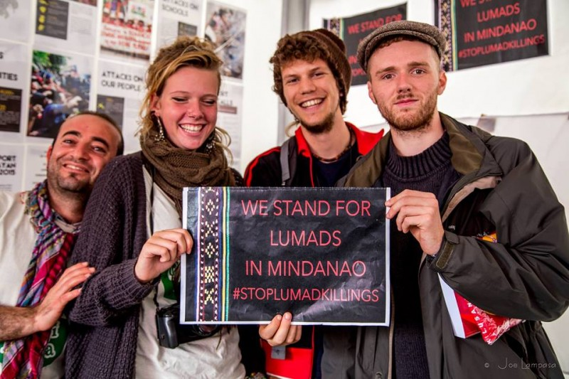 Belgian activists show support for Lumad communities. Photo from the Facebook page of Tinay Palabay