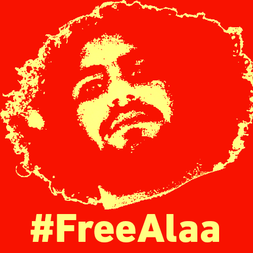 Friends and supporters changed their avatars on social media to this Free Alaa poster today to protest the first anniversary of his unfair imprisonment