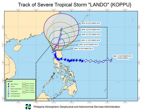 Monitoring the path of Typhoon Koppu as it battered the northern part of the Philippines. Image from @govph