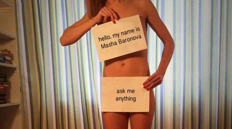 Masha Baronova invites questions. (Text translated into English by Kevin Rothrock). Photo: Facebook.