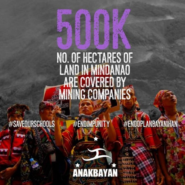 """Oplan Bayanihan [a military counterinsurgency program] pushes Lumads to evacuate their lands, but also paves the way for corporations to take hold of the land, and use the Armed Forces of the Philippines as their own security force as they plunder and suck the Earth of it's natural elements."" Image by Anakbayan USA."