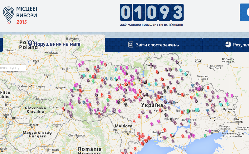 A screenshot of the Opora crowdmap at around 11pm Kyiv time on October 25, 2015.