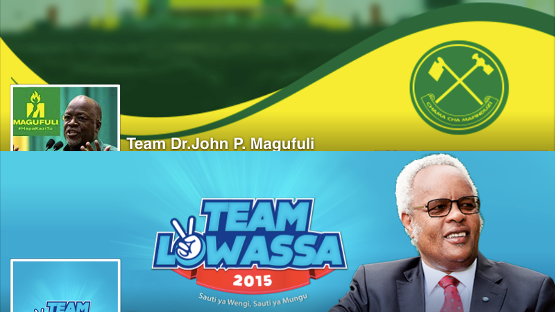 Cover photo of main election competing candidates Edward Lowassa and John Magufuli from their campaign Facebook pages.