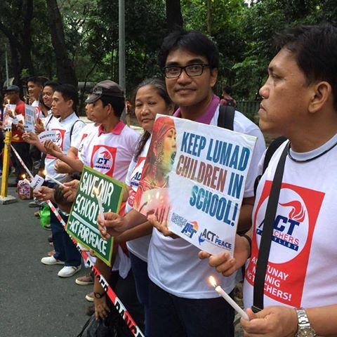 Teachers in Manila join call for the protection of the Lumad. Photo from the Facebook page of Carl Marc Ramota.