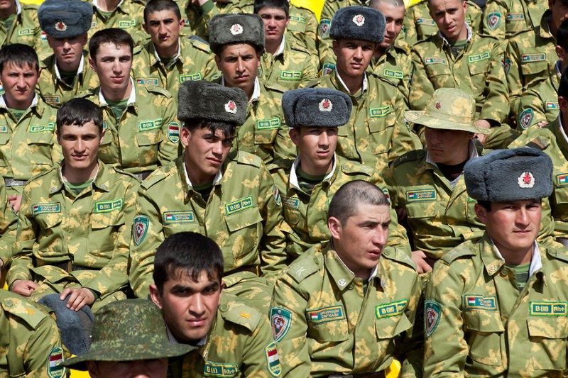 Conscripts watch a wrestling match in Tajikistan. Photo by Eurasianet and David Trilling, Used with permission.