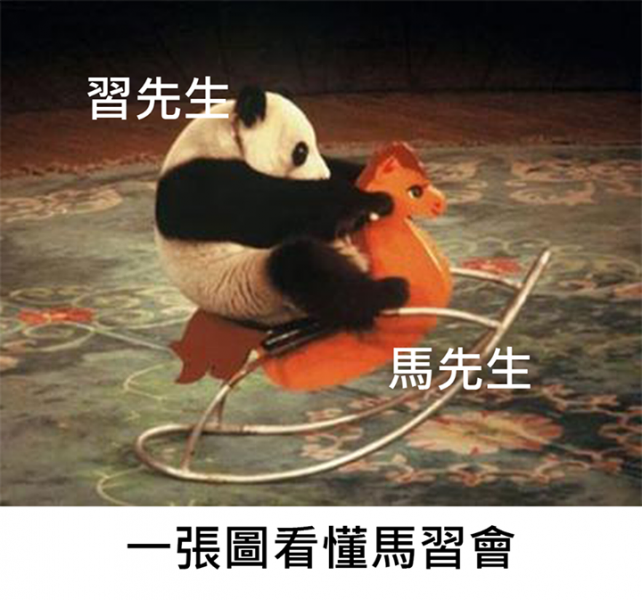 Mr. Xi Panda riding on Mr. Ma (Horse).