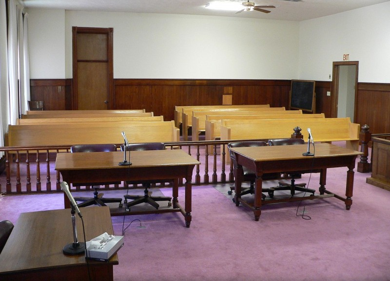 Empty courtroom. Wikipedia image.