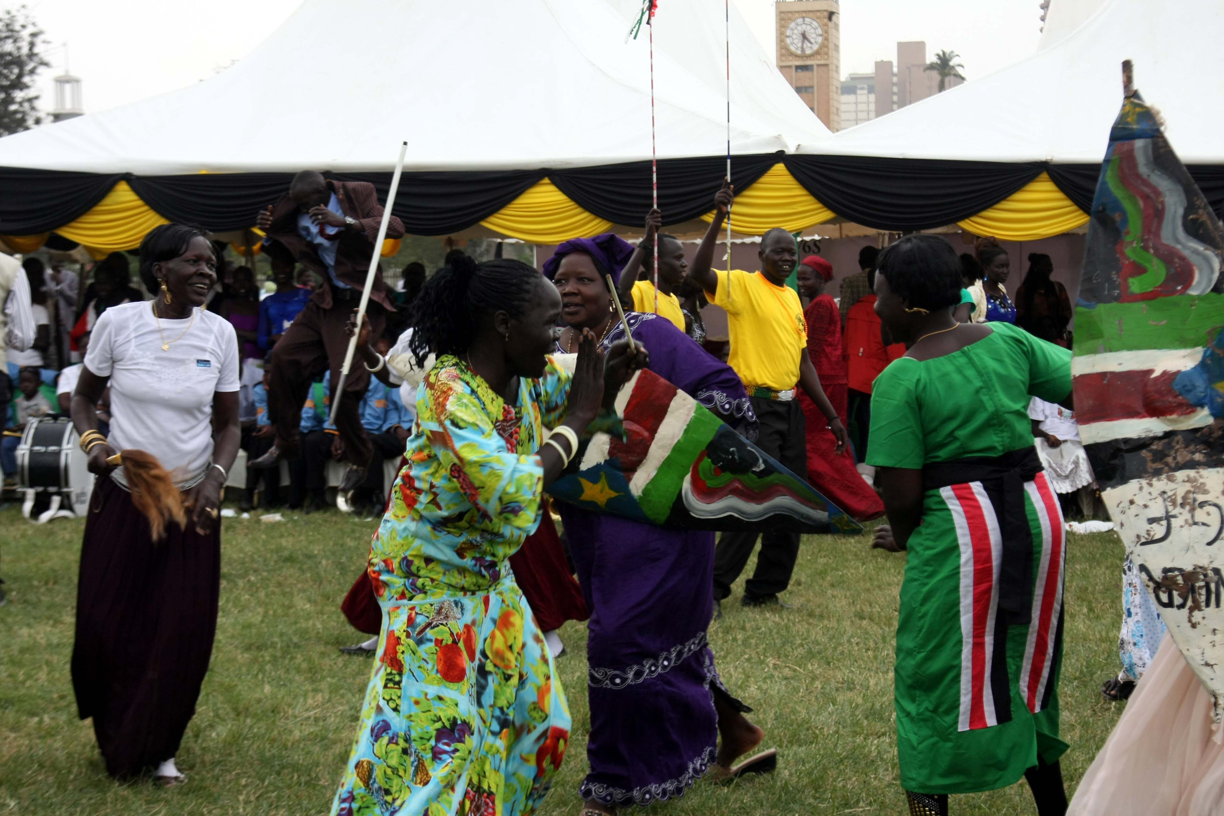 South Sudanese women dancing to celebrate their country's first independence anniversary on July 9, 2012. Copyright © Demotix.