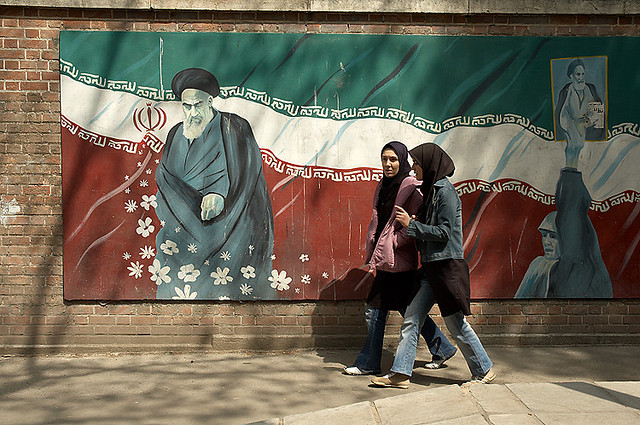 A mural of the founder of the Islamic Republic, Ayatollah Ruhollah Khomeini outside of the former U.S. Embassy in Tehran. Image by Kamyar Adl (CC BY 2.0).