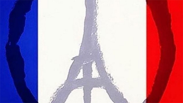 Peace sign designed by Jean Julien following the attacks in Paris - via twitter - Public Domain
