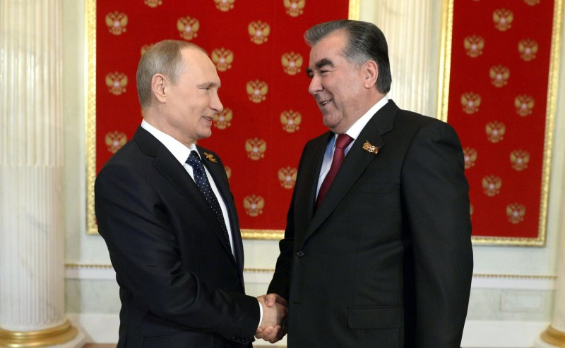 Tajik President Emomali Rakhmon and Russian President Vladimir Putin. Wikipedia image.